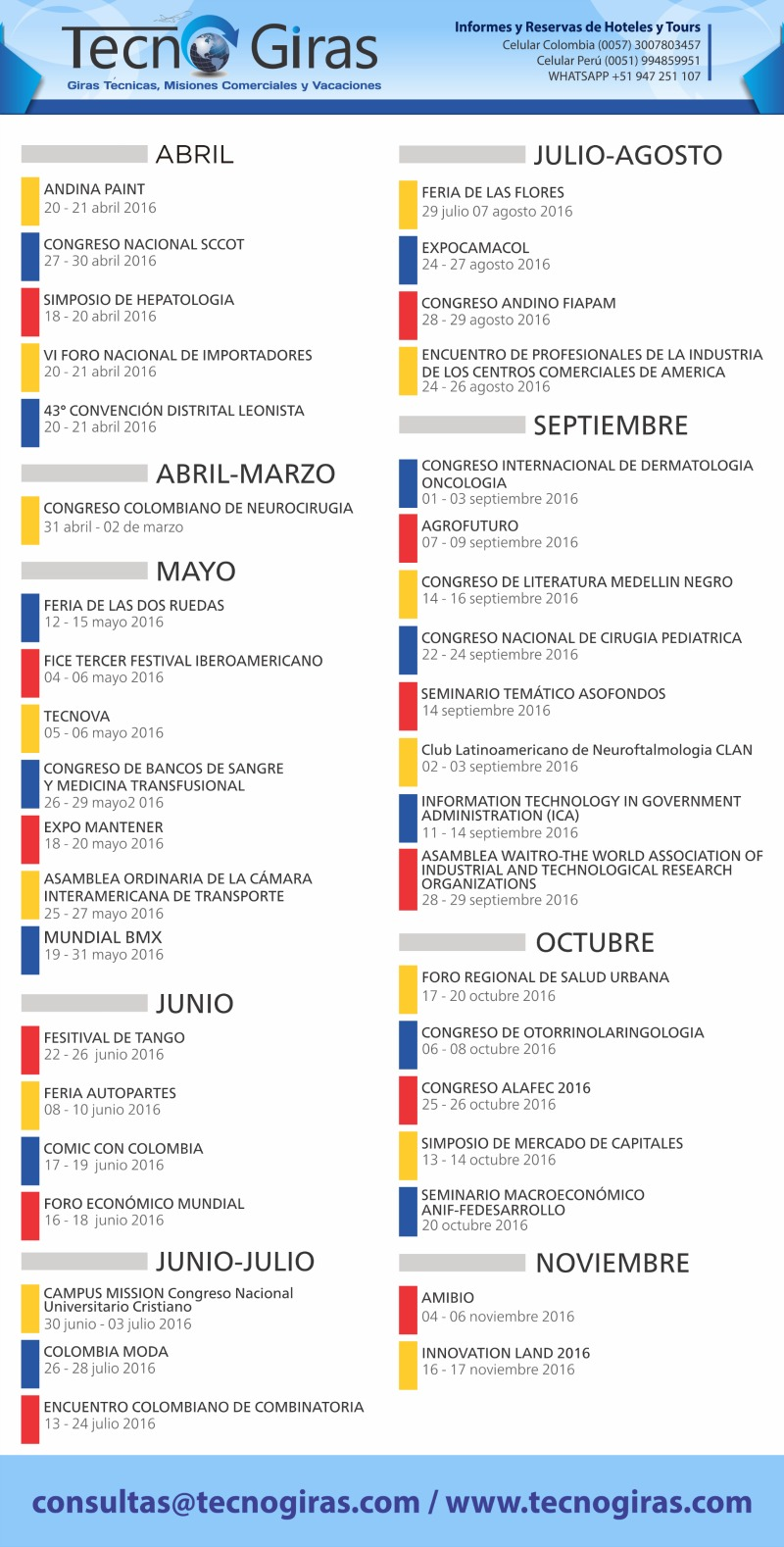 EVENTOS Y CONGRESOS COLOMBIA 2016