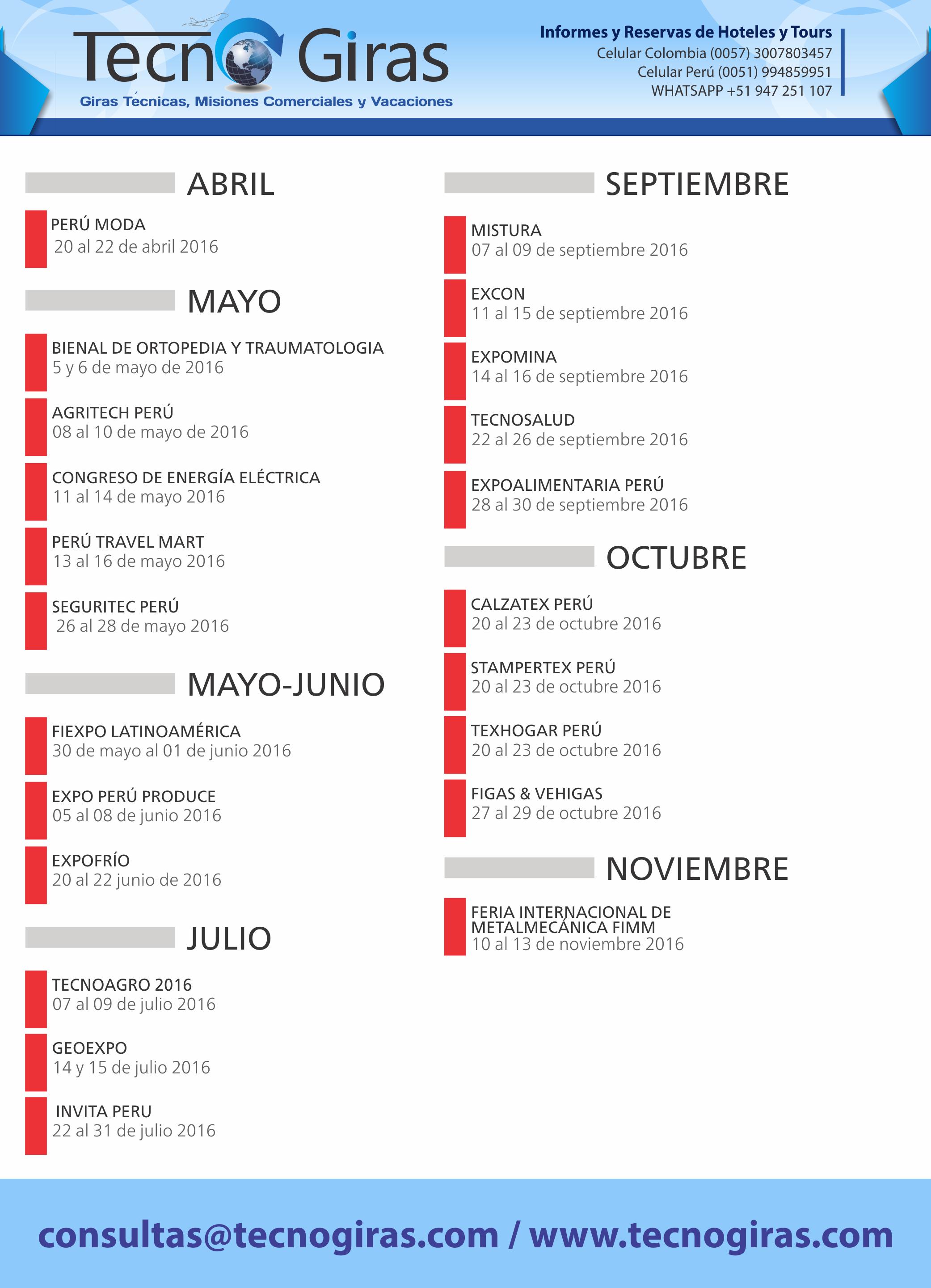 EVENTOS Y CONGRESOS PERU 2016